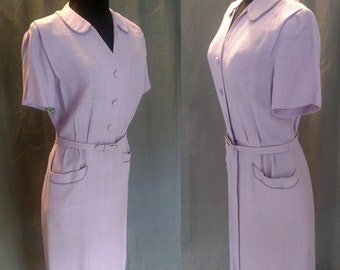 Vintage 1950s Kay Dunhill for B Altman Day Dress / 50s Lilac Cotton button down Dress with belt and two front pockets Size 4/5