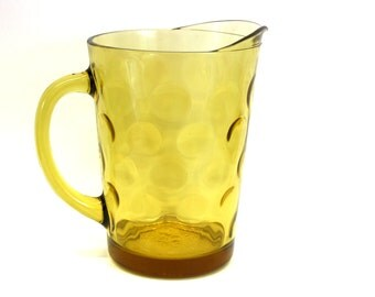 Vintage Yellow Glass Pitcher w/Bubble Texture (E3292)