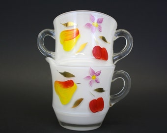 Vintage Handpainted Sugar & Creamer Frosted Glass w/Pear, Apple (E1100)