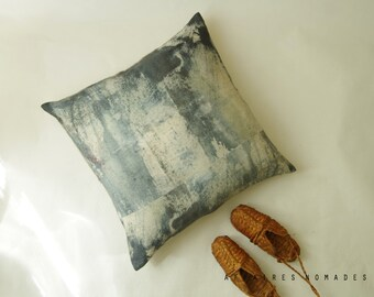 "Abstract Linen ooak Big pillowcase. Navy. 26""x 26""... Allusion blue woods / FRAGMENTS"