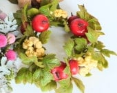 CUSTOM ORDER Faux Floral Candle Wreath Ring Plastic Glittered Leaves, Apples, and Popcorn