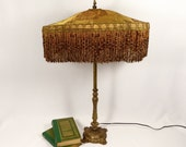Victorian Lamp Shade Hand Made Embroidered Bronze Silk  Fabric One of a Kind