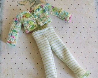 Ooak Blythe Pale Green Confetti Speckled  Hot Pink Aqua Blue Yarn Hand Knit Sweater Short Cropped Cardigan Buttons Striped Tights Leggings