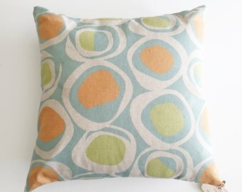 "Pillow Cover 16"" x 16"" Pillow - with or without pillow insert - Blue Green Orange Mid Century"