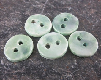 5 Small Pearly Green Round Ceramic Buttons