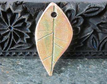 Autumn Brown Ceramic Textured Leaf Pendant