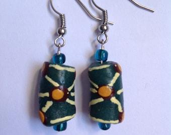 Turquoise Polka Dot Earrings