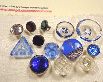 Small antique/vintage buttons - bue glass,  etc  (Ref A61)