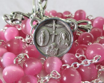 Handmade Catholic Rosary, 8mm Round Pink Cats Eye Glass Beads, Pewter Five Way Center, Openwork Crucifix