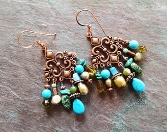 Bohemian copper chandelier earrings, bohemian copper statement turquoise, freshwater pearl, malachite chandelier earrings