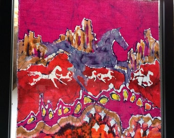 Blue Horse  Desert Frolic - original batik painting