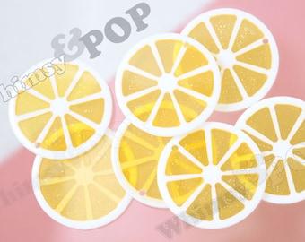 Acrylic Transparent Glitter Sliced Lemon Pendant Charm for Gumball Necklaces, Lemon Charm, 35mm (R7-105)