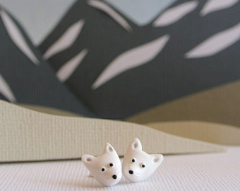 Arctic Fox post earrings - Arctic animal jewelry - White tundra fox - Handmade gift for nature lovers