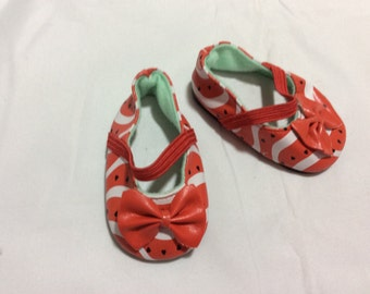 "Watermelon flats, doll shoes fit 18"" like American Girl, doll clothes"