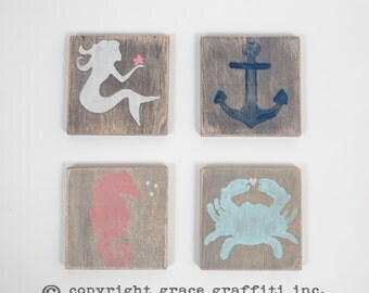 Wooden Coastal Coasters, Nantucket Gray with distressed Mermaid, Anchor, Seahorse, and Crab