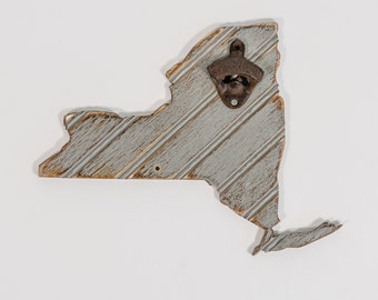 New York Gray Bead Board Bottle Opener, all states and colors available