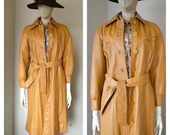 Mod Maid Vintage Vinyl Trench Coat Long Jacket Butterscotch Brown Robe Faux Leather Vegan Outerwear Button Up Western Style 1970s Seventies