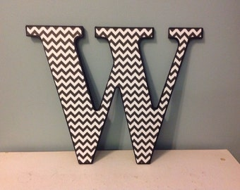 "Black and White Chevron ""W"" wooden wall  letter/decor"