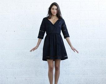 Summer SALE Embroidered Trim Midi dress,Midi Black Dress.