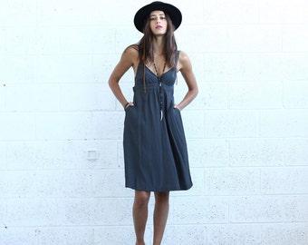 Sarafan Dress- Gray midi dress- Grey tank dress