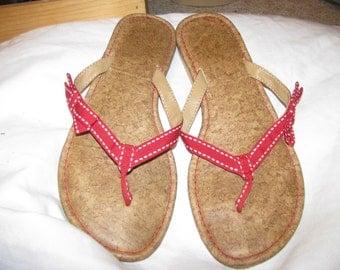 Red grosgrain ribbon vintage sandals, cork footbed