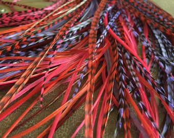Red Purple Magenta Feather Extensions Long Hair Feather Extensions, Berry Shades Hair Accessories 8pcs Loose or Bonded