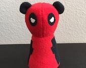 Pandapool Deadpool Panda, Stuffed Animal Plush Toy, Ecofriendly Upcycle