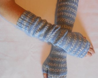Blue Fairisle Stripes Arm Warmers/Fingerless Gloves/Mitts