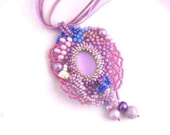 Lilac beaded necklace, Boho necklace, Lilac pendant necklace, Gift for women, Freeform necklace, One of a kind gifts