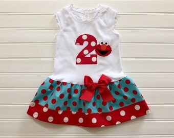 Girls Elmo Birthday Dress Custom Polka Dot and Number Outfit Baby Toddlers 6 12 18 24 Mo Girls 2 3 4 5 6