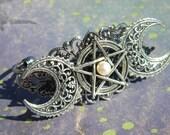 Triple MOON Priestess GODDESS Wicca Cuff Bracelet Filigree Pentacle Pagan Lunar Antiqued Silver Finish Adjustable