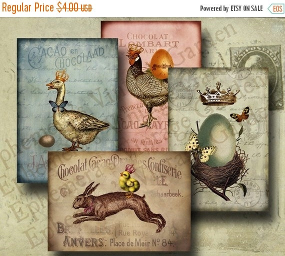 HALF PRICE Vintage Easter Bunny And Friends- Digital Collage Sheet- altered art hang tags greeting card craft supplies scrapbooking nest egg