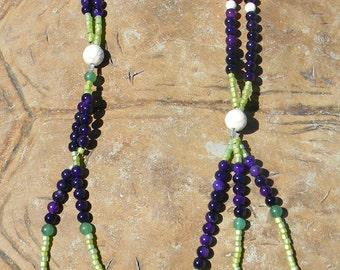 JUZU, SGI Nichiren pattern JUZU, Meditation Beads, Prayer Beads, Amethyst , Earthly Desire Beads, Spiritual Beads, Buddhist Beads