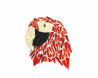 Coffee Table Coasters, mosaic coasters, scarlet macaw coasters, parrot jungle theme, bird lover gift, red home decor, side table accent