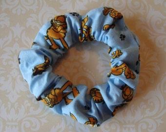 Blue GARFIELD Dog Fabric Print Hair Scrunchies Ponytail Holder