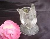 Westmoreland Owl Toothpick Holder, Vintage 1970s Crystal Pressed Glass, Collectible Kitchen Glassware, Vanity Q Tip Holder