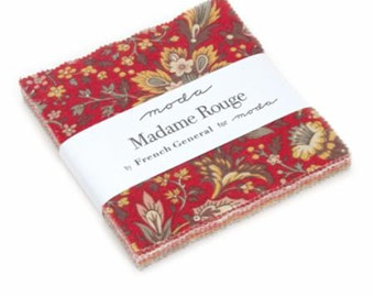 "Madame Rouge Charm Pack by French General of Moda Fabrics, 13770PP, 42-5"" Precuts"