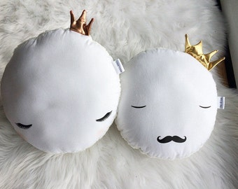 Decor cushions.King and Queen Moon cushions.gold crown, copper crown.Nursery Decor.kids bedroom decor.Cushions.Pillows.Moon.Baby Gift.