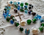 Rosary, Blue Rosary, Multi Color Rosary, Cool Color Rosary,