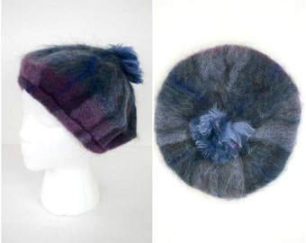 Vintage Scottish mohair beret with fringe pom pom / winter hat