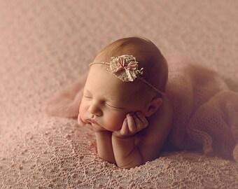 Newborn Pink Bow Jute Tie Back, organic headband, baby girl accessories, photography prop, pink, bow,