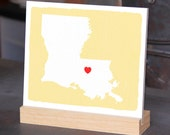 """LOUISIANA Hand Painted Desk display - Office decor - 6""""x 6"""", Bookshelf display, Going Away gift for Family and Best friends BFF gift"""
