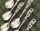 6 Vintage Silverplate NiLS-Johan Demitasse Spoons Victorian Floral Rose Vine Pattern Sweden