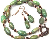 Green Nugget Turquoise and Copper Necklace and Earrings Combo, Handmade Beaded Natural Turquoise Nuggets, Copper Accents