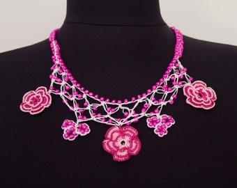 CLEARANCE sale Beadwork necklace ,crochet necklace, crochet oya necklace with  beads