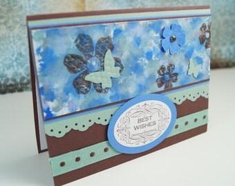 Wedding Card - Blank Card - Blank Greeting Card - Blank Wedding Card - Floral Card - Floral Wedding Card - Blue Wedding Card - Best Wishes