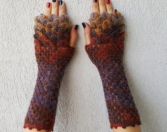 Fingerless gloves Wrist warmers Baselayer Scaled Fingerless mittens cute arm warmers in brown mustard Womens fingerless gloves Lacy glove