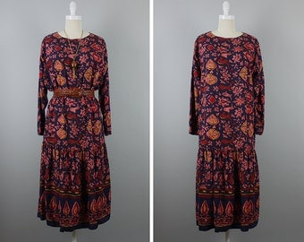 1980s Outback Red Dress --> 1980s Dress -->  Dress Boho --> 80s Dress --> Batik Dress --> 1980s Clothing --> Drop Waist Dress --> Boho Dress