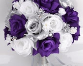 "17 Piece Package Bridal Bouquet Wedding Bouquets Silk Flowers Bride Maid Bridesmaid Corsages PURPLE SILVER WHITE ""Lily of Angeles"" PUSI01"