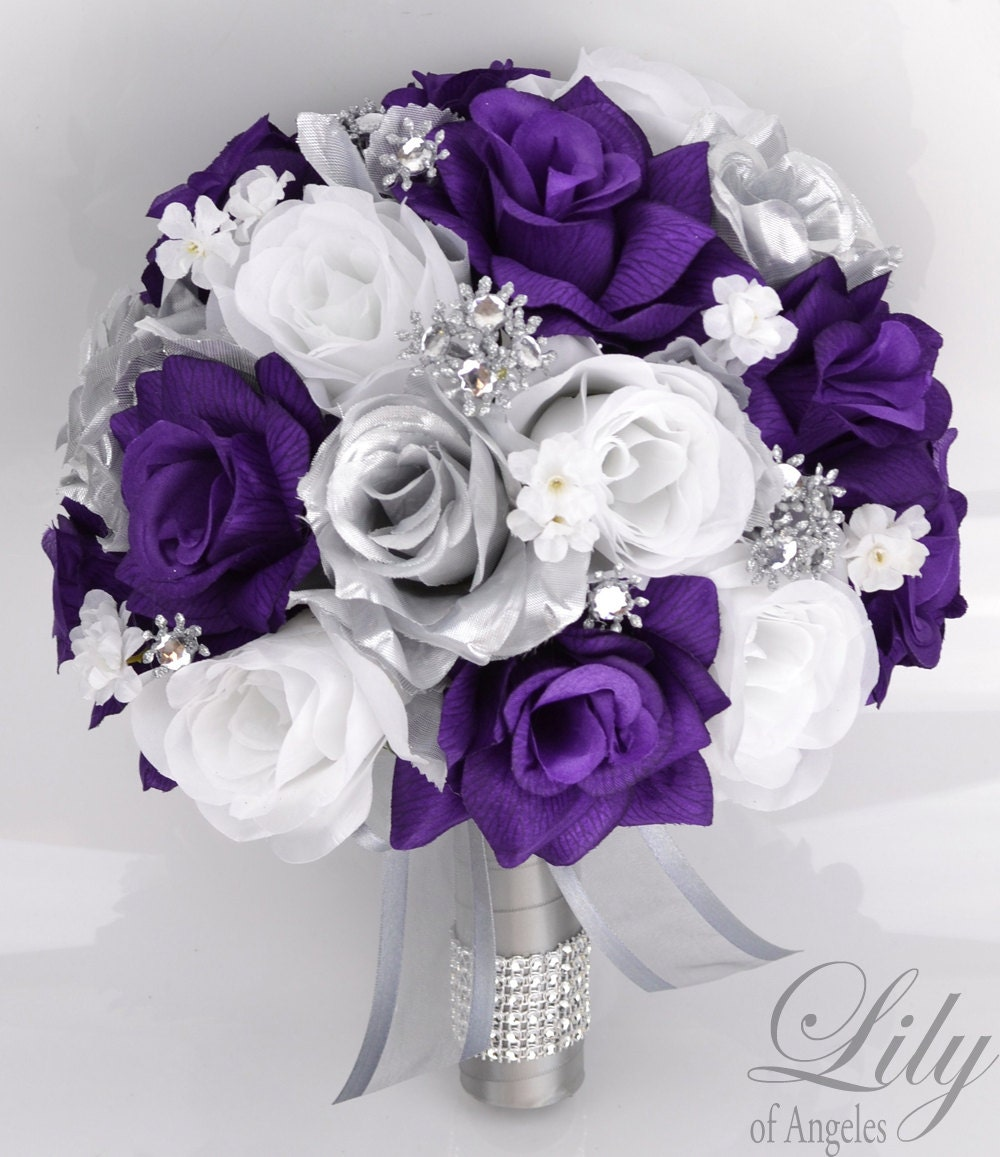 Fake Wedding Bouquets: 17 Piece Package Bridal Bouquet Wedding Bouquets Silk Flowers